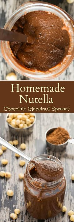 An easy recipe for Homemade Nutella! You can whip this addictive chocolate hazelnut spread up in just a few minutes. The tiny bits of ground hazelnuts leaves you with a rustic feel. It's delicious on fruit and in any baked good!