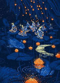 JAMES R. EADS — only the rain knows. limited edition print now. Pretty Art, Cute Art, Art Inspo, Bel Art, Art Du Collage, Art Mignon, Art Et Illustration, Illustrations, Art Japonais