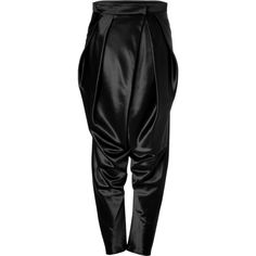 BALMAIN Wool-Silk Harem Pants in Black ($861) ❤ liked on Polyvore featuring pants, bottoms, balmain, trousers, jeans, harem pants, loose harem pants, loose fit pants, draped harem pants and black silk pants