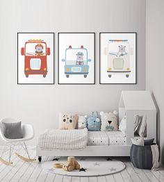 Affiches Ambulance Pompier Policier, Deco chambre bébé garçon, Affiche Scandinave,Deco Chambre enfants,Affiche Ours mignon