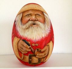 Old Santa with pipe by WoodenEggArt on Etsy