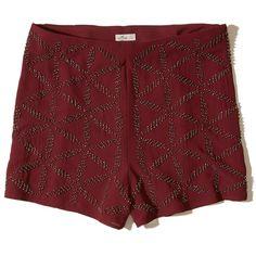 Hollister + Sydney Sierota High-Rise Embellished Shorts ($40) ❤ liked on Polyvore featuring embellished burgundy