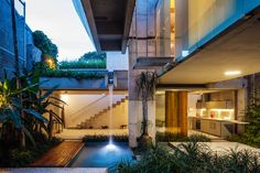 Open pool garden kitchen and living in Sao Paolo apartment. [OS][1140x760]