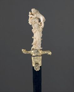 Hunting Sword, ca. Ivory grip attributed to Joseph Deutschmann German (possibly Munich) Steel, silver-gilt, ivory, leather Swords And Daggers, Knives And Swords, Katana, Art Ancien, Arm Armor, Fantasy Weapons, Objet D'art, Ivoire, Heritage Image