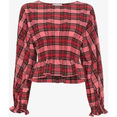 Molly Goddard tartan smocked long sleeve top ($626) ❤ liked on Polyvore featuring tops, plaid top, long sleeve tops, smocked top, smock top and red top