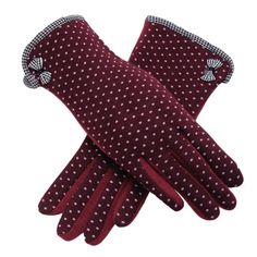 2016 Fashion New Touch Screen Womens Winter Gloves Dots Cotton Warm Outdoor Sport Female Glove