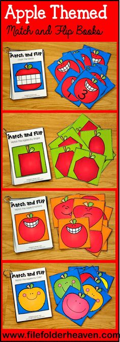 These Matching Activities: Apple Match and Flip Books focus on basic matching… Early Learning Activities, Apple Activities, Counting Activities, Hands On Activities, Preschool Apple Theme, Preschool Themes, Classroom Themes, Classroom Activities, Preschool Apples