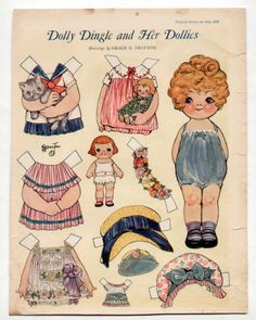 Vintage Dolly Dingle and Her Dollies Paper Dolls July 1926 Uncut Grace Drayton | eBay