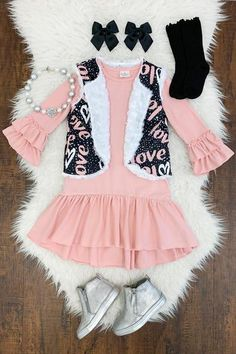 """""""Love"""" Pink/Black Dress Reversible Vest Set – Sparkle In Pink Cute Baby Girl Outfits, Baby Girl Romper, Toddler Girl Outfits, Little Girl Dresses, Kids Outfits, Cute Outfits, Black And Pink Dress, Red And Black Plaid, Pink Black"""