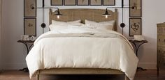 Furniture | Restoration Hardware  love those lamps on the sides of the bed!