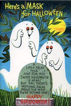 Ghosts; Halloween card.