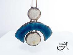 Raku collana bianca e turchese montata su argento di LaTerraCanta, €40.00