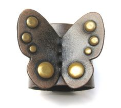 Black Butterfly Leather Cuff by Karen Kell Collection by karenkell, $78.00