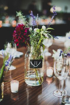 wildflower centerpieces - photo by Chaz Cruz http://ruffledblog.com/modern-brooklyn-wedding