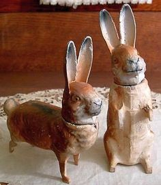 2 Antique Easter Rabbit Candy Containers Germany.