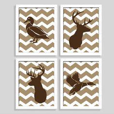 Hunting Print Set - Deer Print - Duck Print - Set of Four Prints - Nursery . Hunting Print Set – Deer Print – Duck Print – Set of Four Prints – Nursery Art – Ba Hunting Theme Nursery, Nursery Themes, Nursery Art, Nursery Decor, Rustic Nursery, Themed Nursery, Nursery Ideas, Baby Boys, Baby Boy Rooms