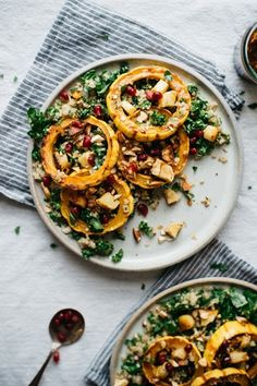 warm squash, parsnip + kale salad w/ pomegranate dressing | dolly and oatmeal