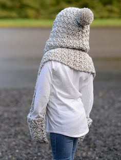 Ravelry: Summit Hooded Scarf pattern by Heidi May Hooded Scarf Pattern, Crochet Hooded Scarf, Crochet Scarves, Crochet Clothes, Crochet For Kids, Crochet Baby, Knit Crochet, Velvet Acorn, Knitting Patterns