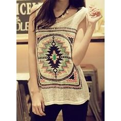 Ethnic Embroidery Design Sleeveless Scoop Neck Pullover Tank Top For Women