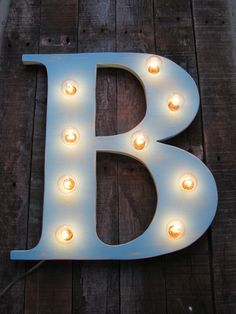 "16"" Wood letter light, wedding decor, distressed, vintage chic, home decor. $85.00, via Etsy."