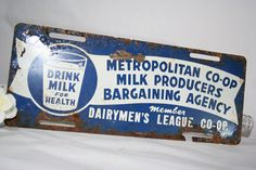 Old Metal Milk Producers Sign. $50.00, via Etsy.