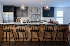 A modern Canadian approach to furniture and home goods Custom Kitchens, Cool Kitchens, Property Brothers Kitchen, New Kitchen, Kitchen Island, Best Kitchen Designs, Custom Cabinetry, Extra Seating, Big Houses