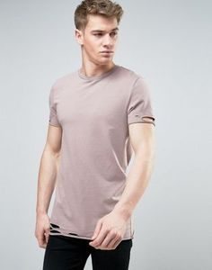 ASOS Longline Muscle T-Shirt With Slash Distress In Pink