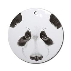 Panda Bear Round Ornament from online store: AG Painted Brush T-Shirts. #cafepress #pandabear #Christmas