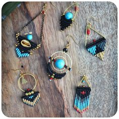 Black turquoise red and gold earrings - Macrame and miyuki seed beads - Ethnic / Boho style.  © Natacha Fayard  #earrings #dangle #macrame #micromacrame #miyuki #delica #jewelry #black #gold #turquoise #red #etsy