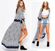 Fashionable Collarless Long Sleeve Geometric Print Chiffon Women's Long Cardigan