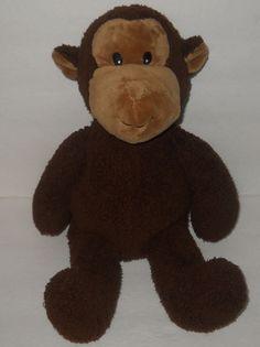 "Koala Baby Brown Monkey Sewn Eyes Plush Stuffed Sherpa Doll Toy 14"" Chenille #KoalaBaby"