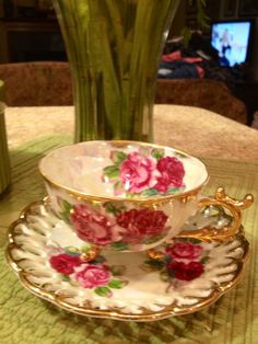 Gorgeous vintage Floral teacup and saucer. by Beyondthegardenwall, $24.00