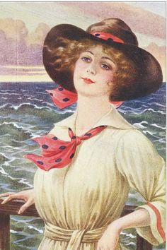 Vintage Postcards, Vintage Images, Vintage Prints, Vintage Art, Divas, Decoupage, Pin Up, Western Girl, Beautiful Ocean