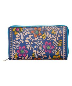 Loving this Blue Floral Hand-Painted Leather Wallet on #zulily! #zulilyfinds