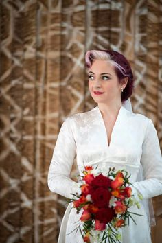 Bride with 1950s style makeup, hair and defined brows #weddingmakeup #beauty #vintage