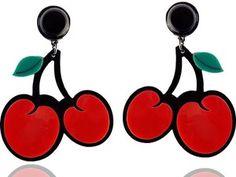 Brinco de Acrílico Divertido Fruta Cereja
