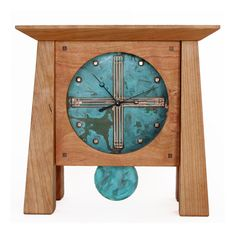 Prairie Mantel Deluxe Clock by Sabbath-Day Woods. Cherry & Patina Copper, handmade in North Carolina. Craftsman Clocks, Craftsman Style, Craftsman Furniture, Mantel Clocks, Wood Clocks, Wood Home Decor, Handmade Home Decor, Wall Decor, Mission Style Furniture