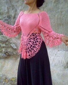 Crochet Lace Poncho Shirts 47 New Ideas Poncho Au Crochet, Col Crochet, Crochet Shirt, Crochet Jacket, Crochet Baby, Crochet Summer, Lace Jacket, Lace Scarf, Crochet Tops