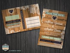 DIY Printable - Rustic Barn Wood Lace Save the Date Postcard - Indie - Shabby Chic - Vintage - Country - Texture - Wedding Invitation on Etsy, $15.00