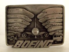 Vintage 1984 Boeing Airplanes Belt Buckle by honeyblossomstudio