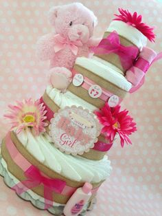 Sweet Baby Girl Vintage Diaper Cake, Baby Shower Centerpiece on Etsy, $80.00