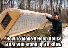 Hoop house growing vegetables in the cold months fall winter gardening snow season greenhouse green house tunnel row covers