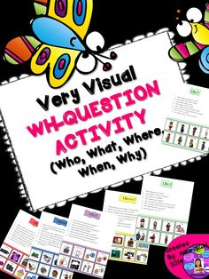 Speech Therapy WH-Questions Who What Where When Why with visual answers. #speechtherapy #whquestions #autism