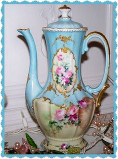 Limoges Coffee Pot. Just absolutely gorgeous, loooooove the blue color added at the top part of the pot!!!