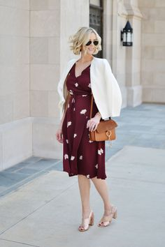 Ann Taylor floral wrap dress, collarless blazer, rose gold mules, chloe dupe bag