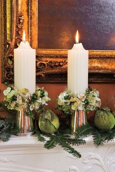 Coordinating Ornaments - Elegant Christmas Dinner Decor - Southernliving. Fill out your mantel arrangement using ornaments that complement the colors of your flowers.