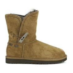 UGG Women's Meadow Fold Over Sheepskin Boots - Chestnut ($145) ❤ liked on Polyvore featuring shoes, boots, ankle booties, ankle boots, tan, tan ankle boots, cuffed ankle boots, flat booties, sheepskin boots and sheepskin lined boots