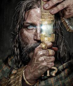 An Iron Age Celtic chieftain holding a ritual dagger by Samson Goetze Ancient Art, Ancient History, Fantasy World, Fantasy Art, Irish Mythology, Thor, Celtic Warriors, Celtic Culture, Vegvisir