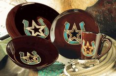 KITCHEN: NEW DISHES!!Turquoise Horseshoe & Star Dinnerware Set - 16 pcs