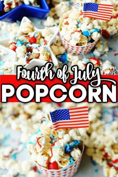 Simple 4th of July Food Popcorn Recipe. Fourth of July popcorn recipe. #FourthofJuly #popcorn #PartyTreats Popcorn Recipes, Snack Recipes, Snacks, Yummy Recipes, Rice Krispie Treats, Rice Krispies, Sweet 16 Themes, Welcome Home Parties, Fourth Of July Food